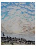 Peter Albach, Dresden, Öl auf Leinwand, Elbestrand, KInd steine werfend, wellen, Landschaft, Himmel, wolken, sonnenuntergang, Peter Albach, Dresden, oil on canvas, Elbestrand, KInd stones throwing, waves, landscape, sky, clouds, sunset,