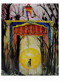 Peter Albach, Sommernachtstraum, Fantasy, surreal, Wald, Clown, Landschaft, kunst, TOR, Weltentor, Theaterbühne, Sonnenuntergang, Goldene Kugel, Midsummer Night's Dream, painting, fantasy, surreal, dream, forest, clown, landscape, art, gate, world gate,