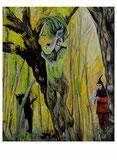 Peter Albach, Sommernacht, Malerei, surreal, traum, Wald, Clown, Landschaft,Midsummer Night's Dream, painting, fantasy, surreal, dream, forest, clown, landscape, art kunst Sueño de una noche de verano, pintura, fantasía, surrealista, sueño, bosque, payas