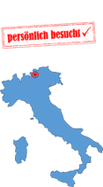 """Karte Italien mit Stempel """"persönlich besucht"""""""