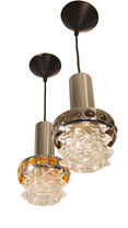 Pair Pendant Hanging Light Ceiling RAAK Space Age UFO Sputnik Atomic Chrome
