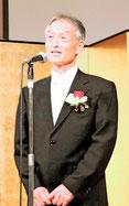 祝賀会で謝辞を述べる 吉井宏一郎 先生