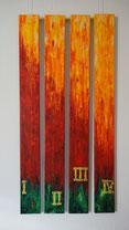ADVENT - Aufstrahlendes Licht (Acryl auf 4 Leinwänden à 10x100cm, 2012)
