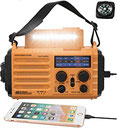Solar Radio, Tragbare Notfall Radio mit Kurbel, Dynamo Wetter AM,FM,SW Radio,2000mAh Wiederaufladbare Powerbank,USB-Handy-Lader,LED Taschenlampe &