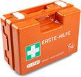 Erste-Hilfe-Koffer für Betriebe mit Inhalt nach DIN 13157 in orange, Verbandkasten gefüllt und mit Wandhalterung (Erste-Hilfe Koffer)