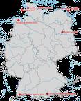 Karte zu den Beobachtungsorten der Korallenmöwe in Deutschland