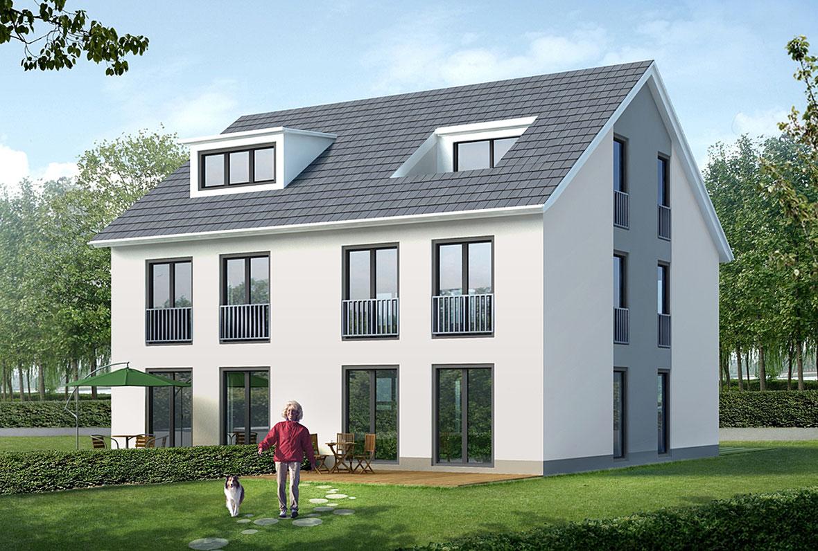 Fertig gedecktes Doppelhaus mit Dachgaube und Terrasse und Frau mit Hund im Garten.