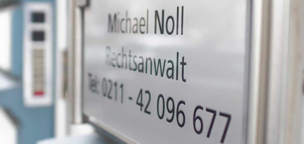 Rechtsanwaltskanzlei Michael Noll, Blücherstr. 64, Düsseldorf-Pempelfort, Türschild