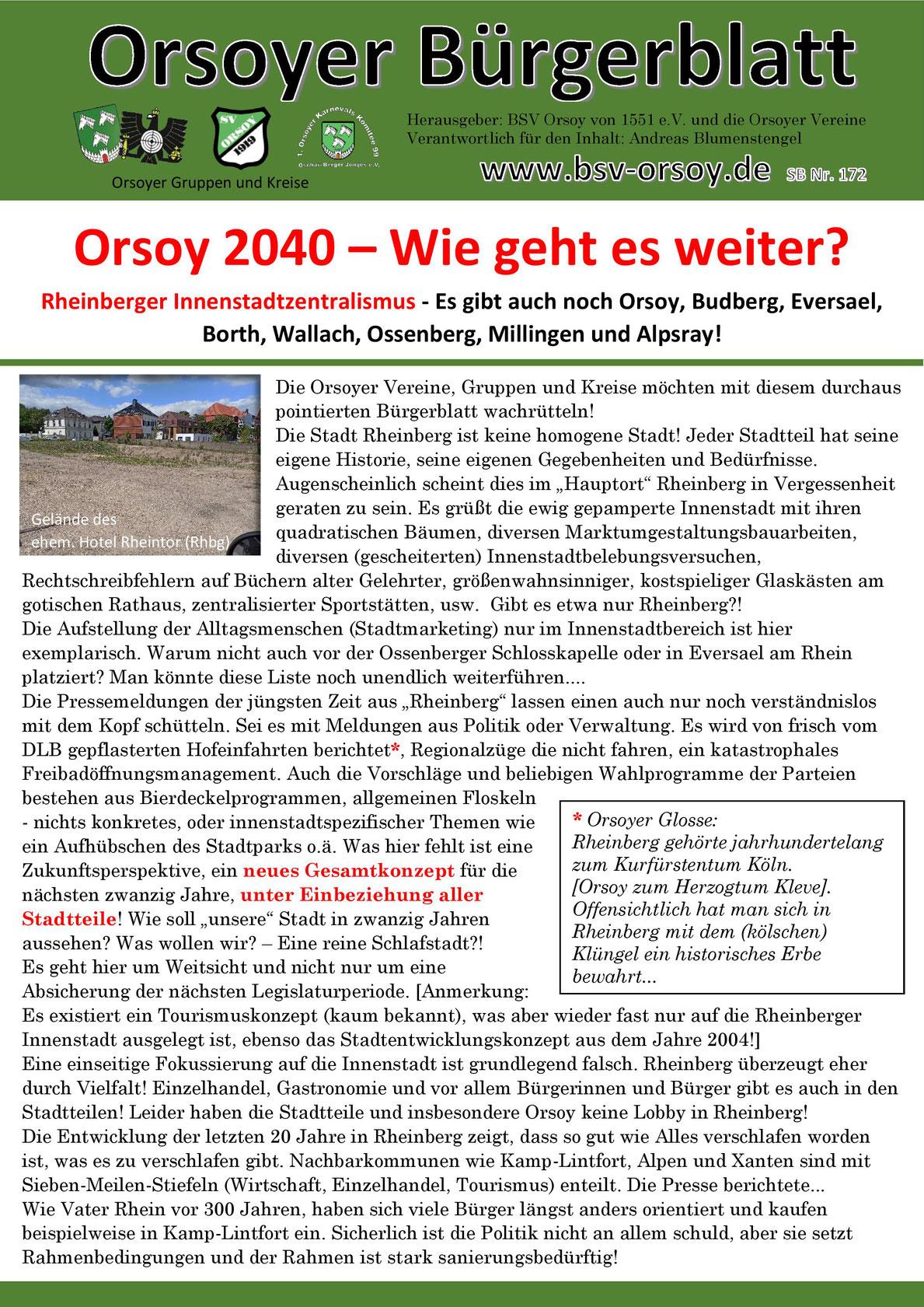 BSV-Orsoy, Orsoy, Schützenblatt, Bürgerschützenverein, Schützenverein, Orsoyer Bürgerblatt, Bürgerblatt