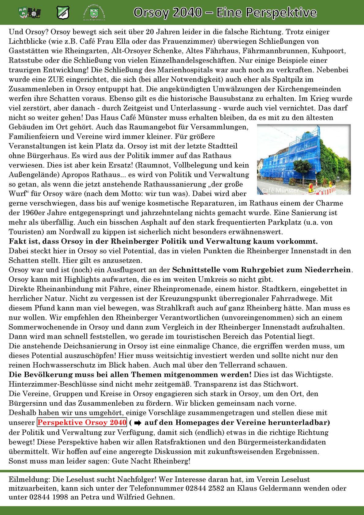BSV-Orsoy, Orsoy, Bürgerschützenverein, Schützenblatt