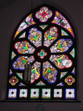 The Rose Window, at the back of the church is one of the original windows.  Photo by W. J. Shearing