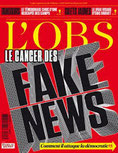 Page de couverture de L'OBS de janvier consacré aux fake news