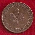 MONEDA ALEMANIA (R.F.A) KM 105 - 1 PFENNIG - 1.970 (F) COBRE (SC-/UNC-) 0,60€.