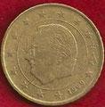 MONEDA BÉLGICA - KM 229 - 50 CÉNTIMOS DE EURO - 1.999 - ORO NÓRDICO (MBC-/VF-) 1€.