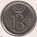 MONEDA BÉLGICA - KM 153.1 - 25 CÉNTIMOS (BELGIQUE) 1.973 - COBRE - NíQUEL (MBC/VF) 0,60€.