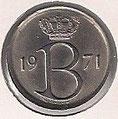 MONEDA BÉLGICA - KM 154.1 - 25 CÉNTIMOS (BELGIE) 1.971 - COBRE - NíQUEL (EBC/XF) 0,60€.