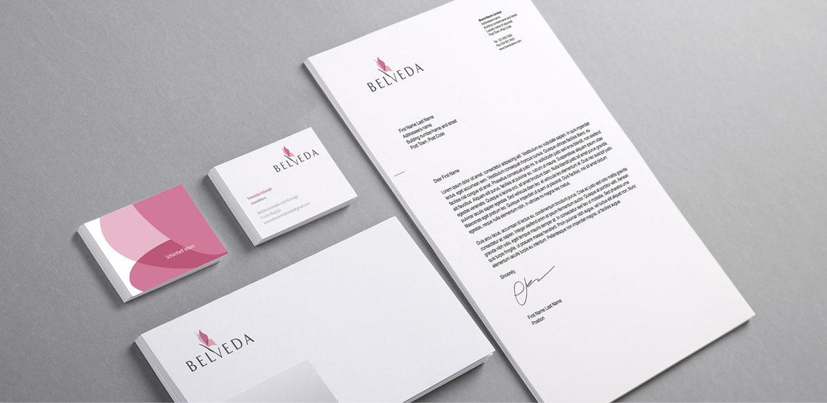 Belveda - briefpapier design - Corporate Design - logo designen lassen