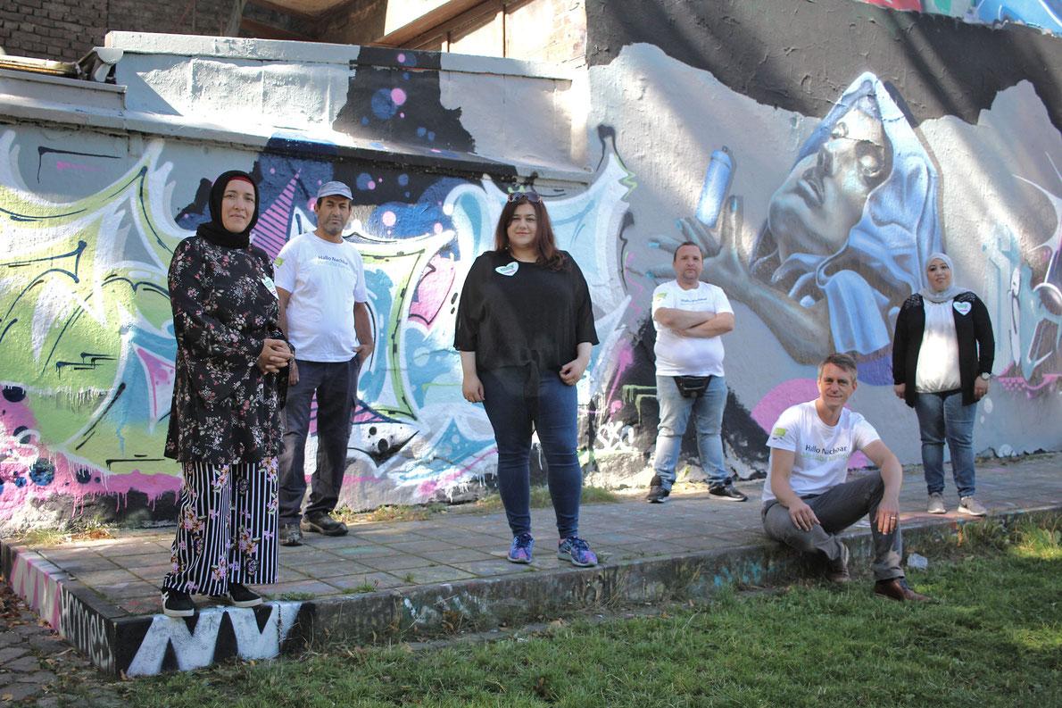 Das neue und verstärkte »Hallo Nachbar Team« im Bürgerpark Berliner Straße. V.l.n.r.: Filiz Yildiz, Yusuf Karasik, Helin Biccici, Roman Erfurth, Tim Lücke und Najoua Benelouargua.