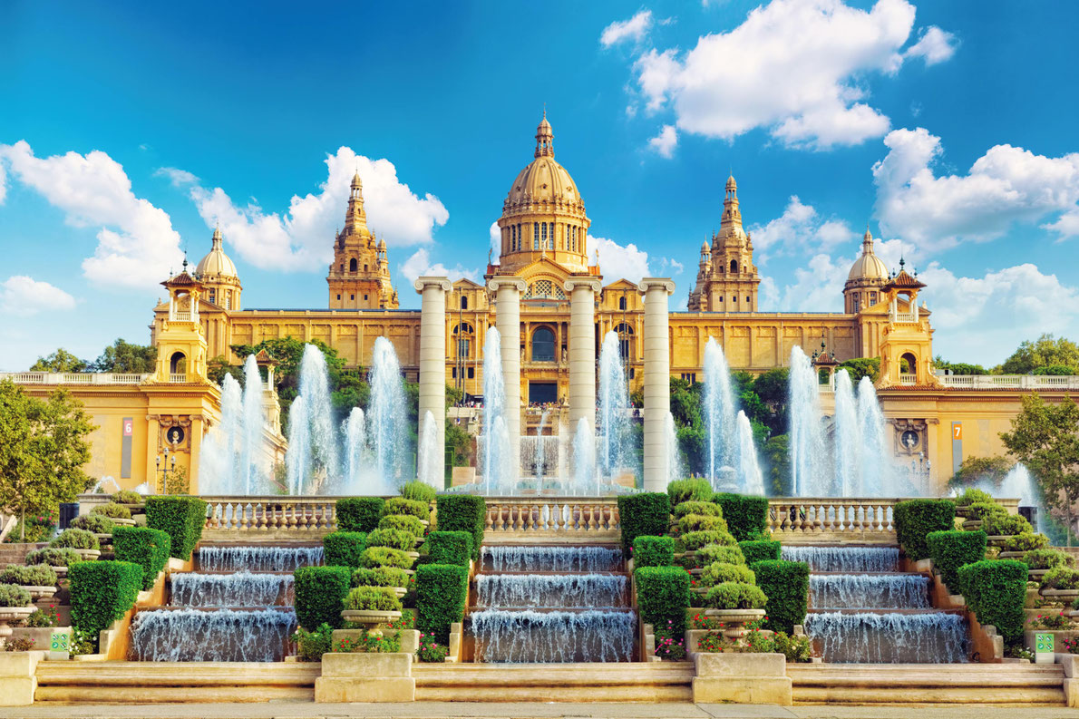 Best fountains in Europe - National Museum in Barcelona, Placa De Espanya,Spain. Copyright Brian Kinney  - European Best Destinations