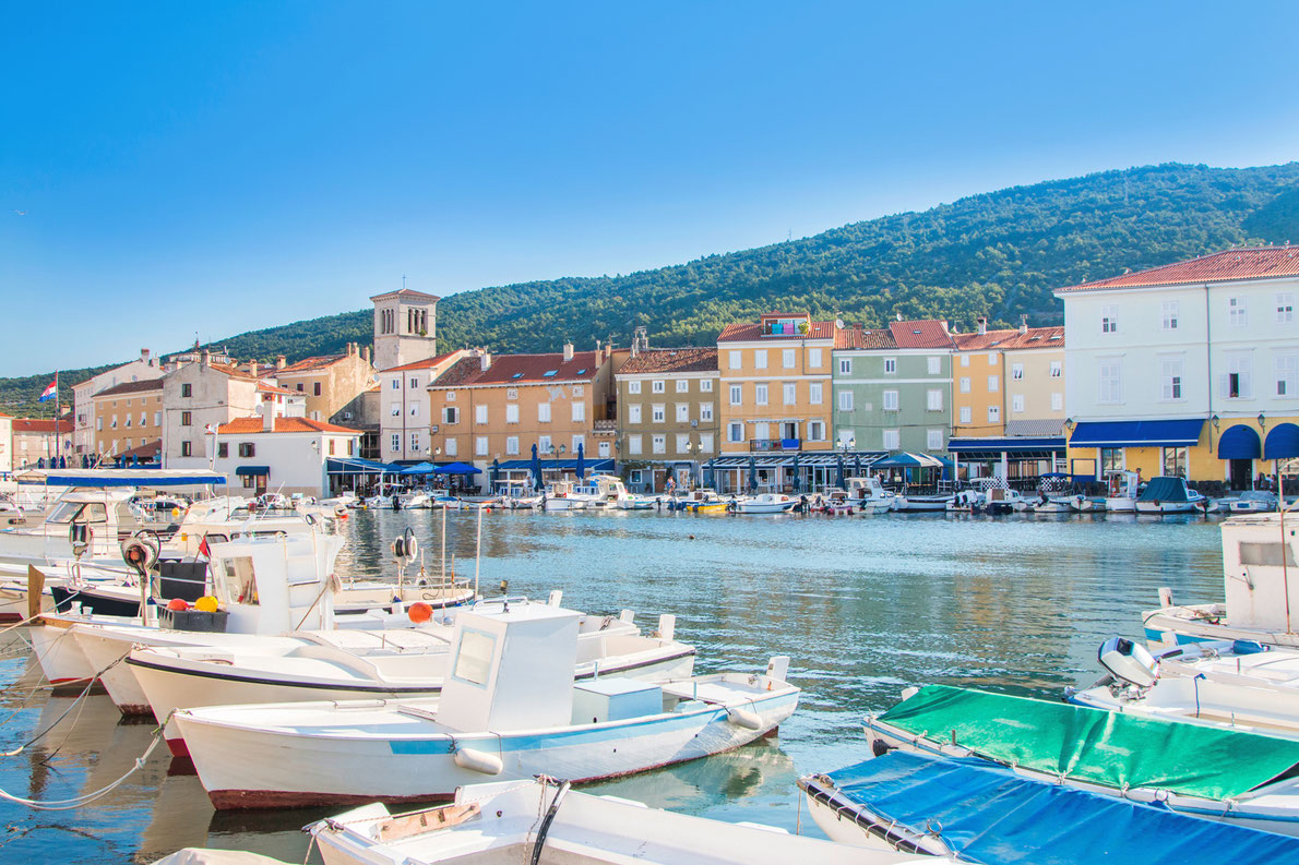 Boats in marine in town of Cres, Island of Kvarner Copyright iascic