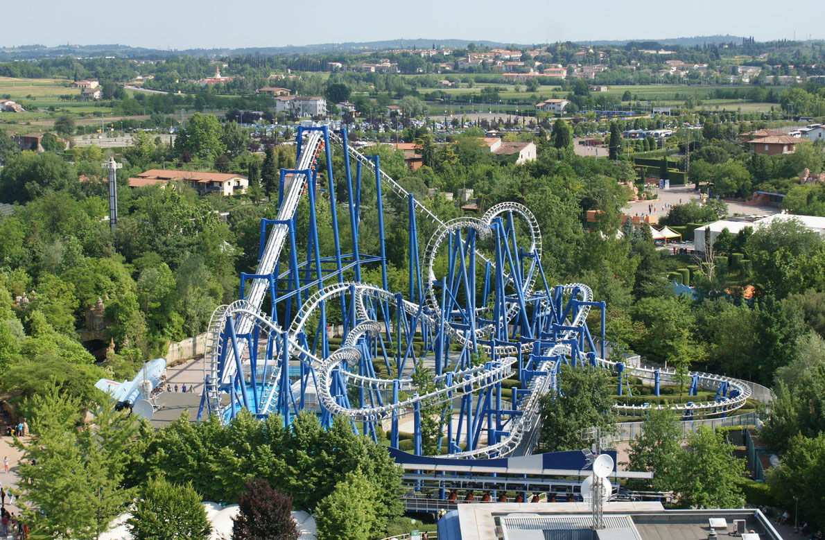 Gardaland park blue tornado - Best amusement parks in Europe -  Copyright Spencer Wright