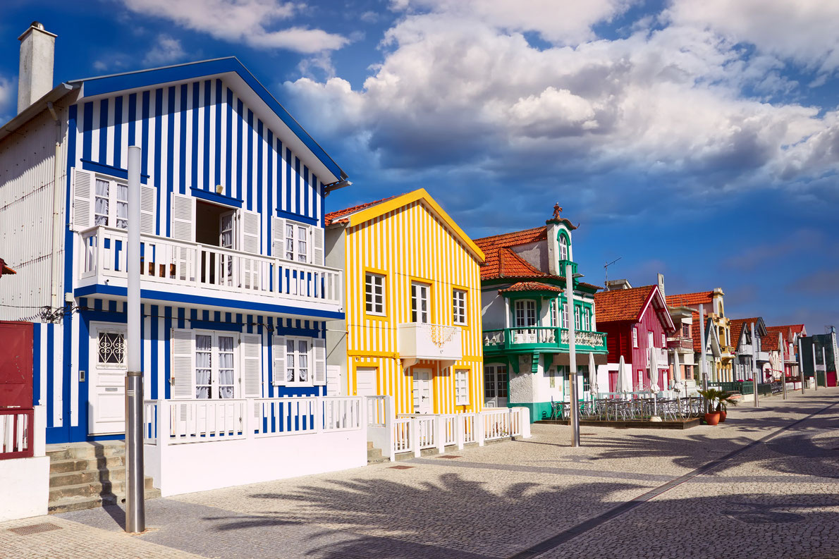 Colorful houses of Aveiro, Portugal