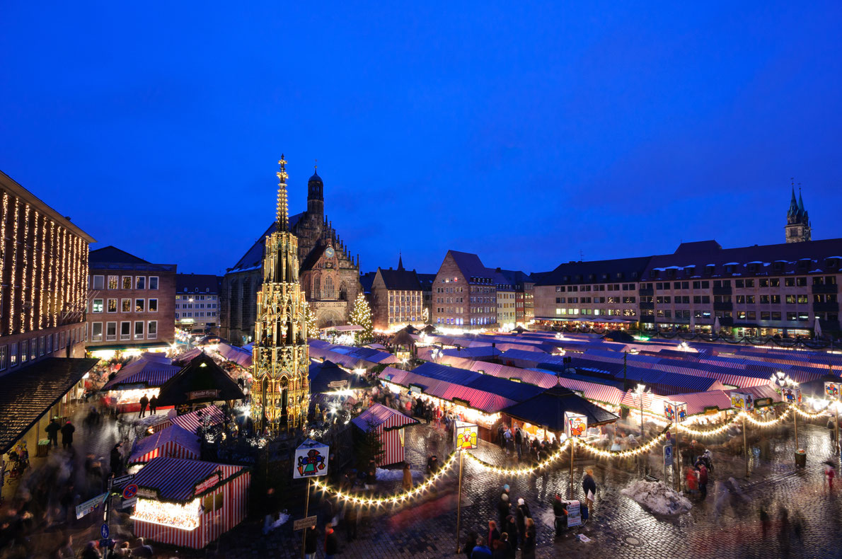 Best Christmas Markets in Germany -  Christkindlesmarkt in Nuremberg, Bavaria, Germany. It is one of the large christmas markets in Germany