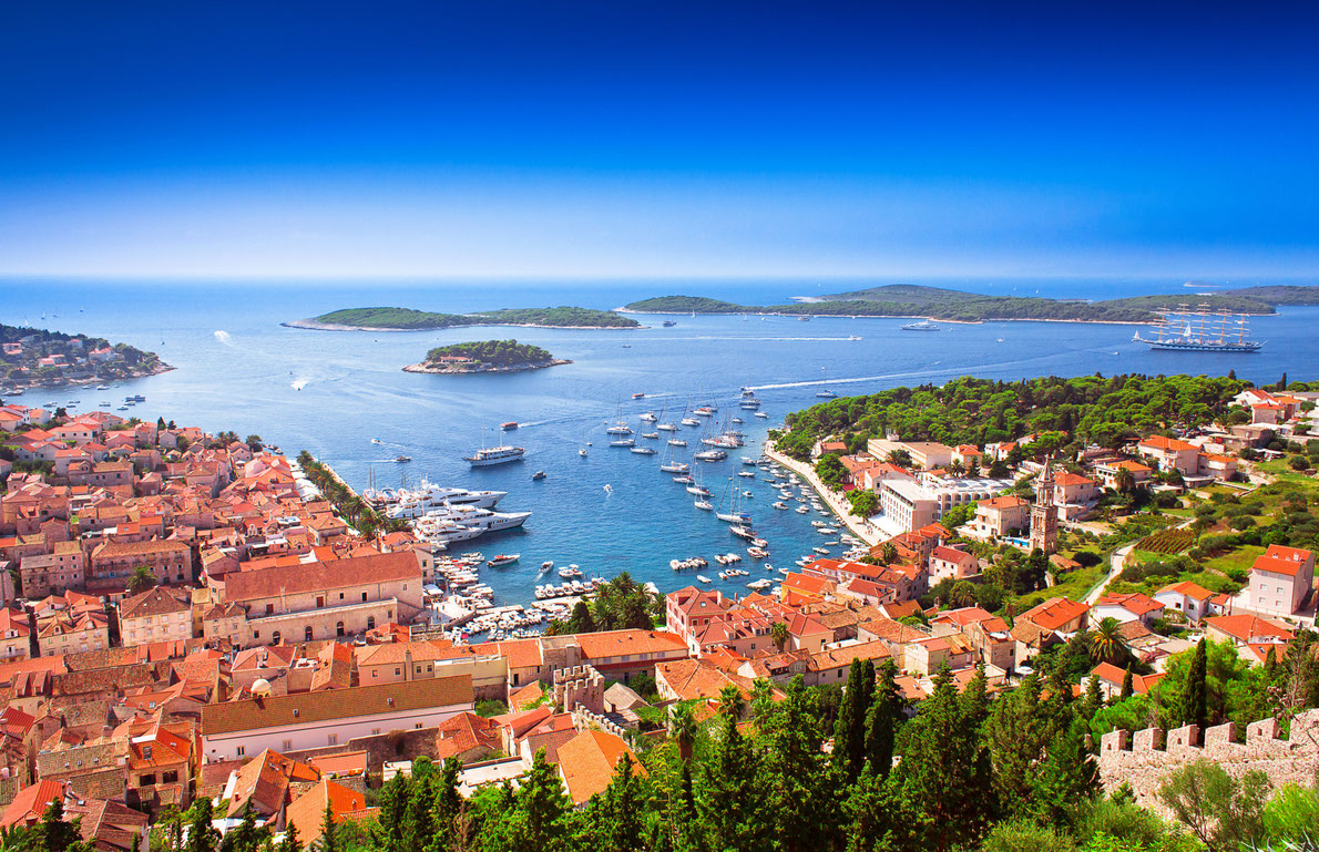 Harbor of old Adriatic island town Hvar. High angle panoramic view. Popular touristic destination of Croatia. Copyright Xenia Chowaniec