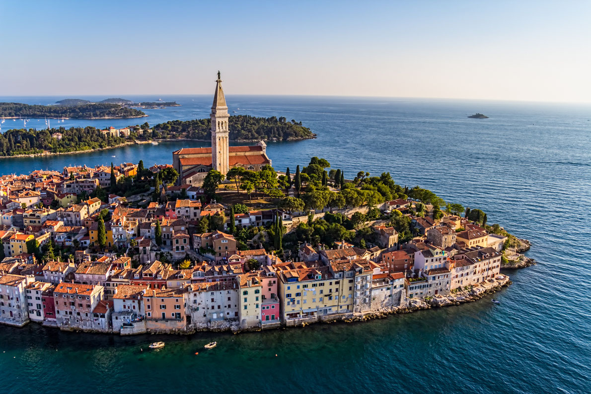 Aerial shoot of Old town Rovinj at sunset, Istra region, Croatia. Copyright OPIS Zagreb