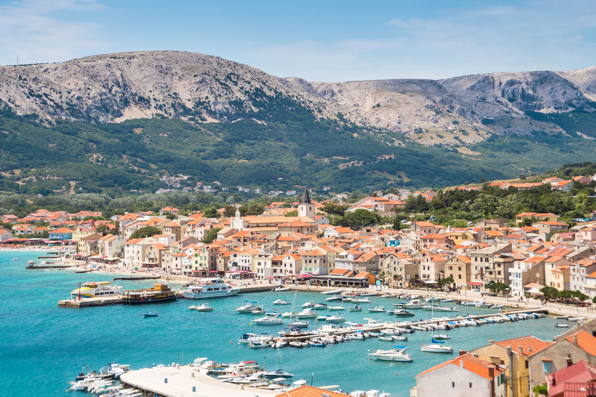 Panoramic view of Baska town, Krk, Croatia, Europe. Copyright Matej Kastelic