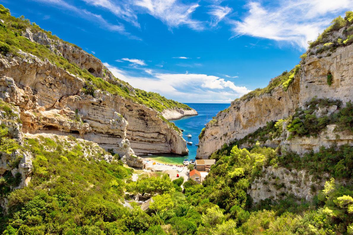 Stinva beach on Vis island idyllic bay, Dalmatia, Croatia Copyright xbrchx