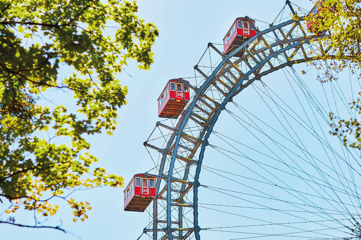Most beautiful ferris wheels in Europe - Famous Ferris Wheel of Vienna Prater park called Wurstelprater Copyright Ekaterina Pokrovsky