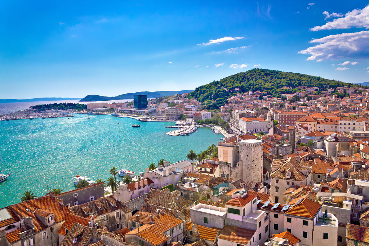 Split waterfront and Marjan hill aerial view, Dalmatia, Croatia Copyright xbrchx