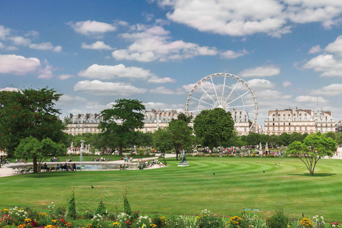 Most beautiful ferris wheels in Europe - lawn of Tuileries garden at summer day, Paris, France Copyright Neirfy