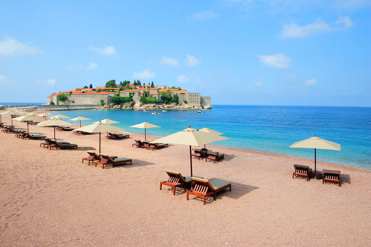 Sveti Stefan island beach in Montenegro - Best beaches in Europe