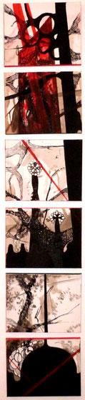 """Barcelona"": 6 mal 18 x 24 cm. Acrylmalerei, Stiftzeichnung. 2011"