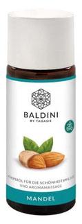 Baldini Mandelöl, 50ml - aus kontrolliert biologischem Anbau. Wird aus sonnengereiften französischen Süßmandeln gewonnen. Die schonende Kaltpressung. Ein hochwertiges Basisöl für die verwöhnende Pflege in der Babymassage.