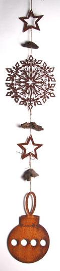 Rost Kette mit Christbaumkugel, Stern und Eiskristall