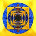 Mandala ca 20x20 cm. Feinsilber- und Feingolddrähte, Blattsilber und Blattgold. Farbig emailliert.