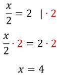 Beispiel für die Äquivalenzumformung mithilfe der Multiplikation