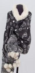 Etole  100% laine motifs cachemire Fourrure Renard