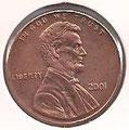 MONEDA ESTADOS UNIDOS - KM 201b - 1 CÉNTAVO DE DÓLAR USA - 2.001 - COBRE (EBC-/XF-) 0,60€.