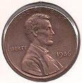 MONEDA ESTADOS UNIDOS - KM 201b - 1 CÉNTAVO DE DÓLAR USA - 1.986 - COBRE (MBC-/VF-) 0,60€.