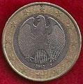 MONEDA ALEMANIA - KM 213 - 1 EURO - 2.002 (F) CUPRONÍQUEL - LATÓN - BIMETÁLICA (MBC-/VF-) 1,75€.