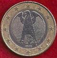 MONEDA ALEMANIA - KM 213 - 1 EURO - 2.005 (J) CUPRONÍQUEL - LATÓN - BIMETÁLICA (MBC-/VF-) 1,75€.
