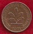 MONEDA ALEMANIA (R.F.A) KM 105 - 1 PFENNIG - 1.971 (D) COBRE (MBC/VF) 0,60€.