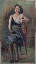 sitzende Frau mit blauem Tuch 1925