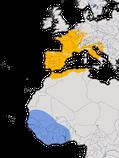 Karte zur Verbreitung des Orpheusspötters (Hippolais polyglotta) weltweit.