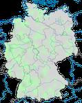 Karte zur Verbreitung der Moschusente (Cairina moschata) in Deutschland.