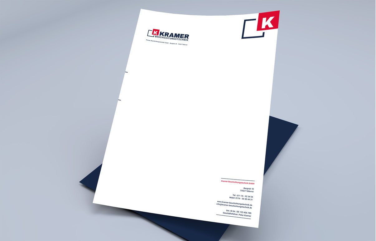 Kramer Beschichtungstechnik Briefpapier